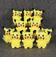 Wholesale pokemon stuffed set - 11cm Anime Poke Pikachu keychain Pendant Plush Soft Stuffed Doll Toy for kids gift 10pcs set free shipping EMS