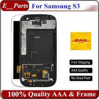 Wholesale Digitizer Frame Galaxy S3 - New Grade AAA For Samsung Galaxy S3 lcd i9300 i747 i9305 i535 LCD Display Touch Screen Digitizer Assembly with Frame