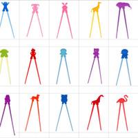 chopsticks satışları toptan satış-Yaratıcı Karikatür Silikon Öğrenme Çubuklarını Çocuklar Bebek Eğitim Acemi Uygulama Sofra Çeşitli Tasarım Renkli Sıcak Satış Yeni 2 2 ...