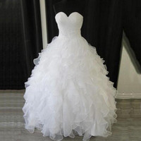 Wholesale real sample ball gown wedding dresses resale online - Custom Made Cheap Tiers Real Sample White Organza Sweetheart Ball Gown Empire Ruffles Beaded Waist Wedding Dresses Corset Back