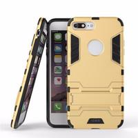 étuis iphone 3d homme achat en gros de-Téléphone Cas Pour Apple iPhone 6 6 s 7 5 S 5 PC + Silicone Iron Man Anti Shock Armure Bouclier 3D Cas Pour iPhone 7 6 Plus Kickstand Couverture