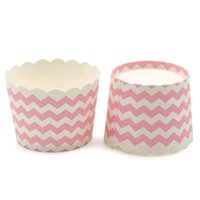 Wholesale Cheap Cupcake Cakes - Free Shipping white pink stripe striped muffin cake cups, wedding party cheap bulk colorful small cupcake cases decoration