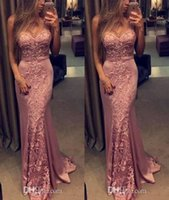 Wholesale Mermaid Figures - Arabic 2017 New Elegant Figure Flattering Mermaid Prom Dresses Lace Appliques Sleeveless Dresses Evening Wear Custom Made Party Gowns