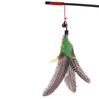Wholesale multi pet toys for sale - Top quality Pet cat toy Cute Design bird Feather Teaser Wand Plastic Toy for cats Color Multi Products For pet PET306