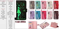 Wholesale Glow Dark Case - Luminous Leather Wallet Case For Iphone 7 Plus 6 6S SE 5S Glow In Dark Flower PU Cover Cute Glossy Pouch Butterfly Cat