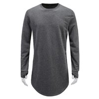 Wholesale Fashion Finger Sleeve - Wholesale- Men Fashion T shirts Cuff with hole design Men's Hip Hop T shirts Exposed fingers Cool Streetwear Hem design of the hem Tops Tee