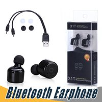 Wholesale True Blue Wholesale - X1T Twins True Wireless Bluetooth Earphone Sport Stereo In-ear Earbuds With Voice Prompt For iPhone 6 7 Plus Samsung S7 edge S8 Plus LG