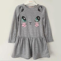 Wholesale Cute Casual Outfits For Girls - 3colors Girls cute cat face print long sleeve dress infants kids solid color animal printing dress children's sweet casual outfits for 1-5