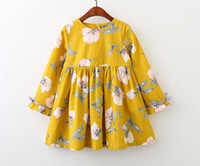 Wholesale Western Style Dresses Kids - INS Spring Autumn Girls Floral Cotton Dress Cute Baby Children Yellow and Purple Color Western Kids Spring Fall Dresses 2-8years free ship