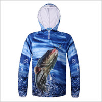 Wholesale Shirts Fish Prints - Dropshipping New 3D Blue Print Hooded Fishing Shirt Real Fish Breatheble Fishing Clothes Sunscreen Anti-UV Outdoor Wearing
