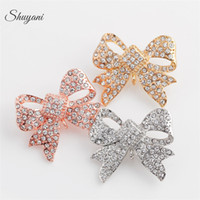 Wholesale Mixed Jewelry Brooches - Yani Jewelry Crystal Butterfly Bowknot Brooch Brooches Jewelry for Women Wedding Mix 3 Colors Free Shipping
