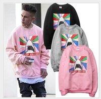 Wholesale Hoody Sweeter - men pink sweet dreams Rainbow shark print hoody pullover sweatshirt Moletom Palace Hoodie