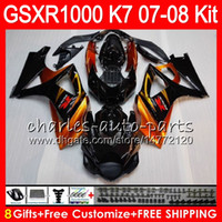 Wholesale Suzuki Gsxr K7 - 8 Gifts 23 Colors Body For SUZUKI GSXR1000 2007 2008 13HM9 GSXR-1000 07 08 GSX-R1000 K7 GSXR 1000 07 08 Fairing Kit Bodywork Orange black