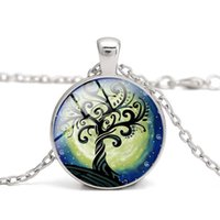 Wholesale Girls Bohemian Clothing - Pink Tree of Life Glass Cabochon Pendant Necklaces Blue Time Gemstone Women Charm Clothes Accessory Girl Gifts Alloy Jewelry Wholesale