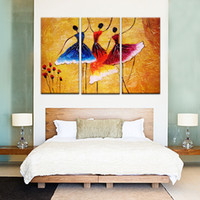 Wholesale Modern Dance Oil Painting - 3 Pieces Canvas Painting Spain Dance Canvas Print Painting Wall Art Modern Decoration Abstract On Canvas Wooden Framed Ready to Hang Gifts