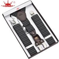 Wholesale ancient army - Wholesale- Four clip men to restore ancient ways recreational fashionable leather strap business suspender straps trousers for men