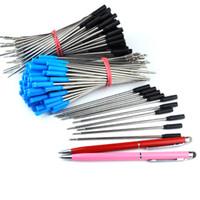ingrosso penna stilografica in metallo nero-Wholesale- 5000pcs all'ingrosso 0.7mm nero, blu inchiostro metallo penna a sfera ricarica 115mm lungo penna ricarica ufficio forniture per sottile 2 in 1 penna stilo