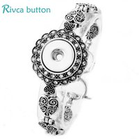 Wholesale Silver Ring Singapore - Wholesale-P00809 Snap Button Bracelet&Bangles Gifts Antique Silver Plated Charm Bracelets For Women 18mm Rivca Snap Buttons Jewelry