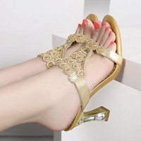 Wholesale Sexy Gold Gladiator Heels - 2017 fashion sandals wholesale summer new ladies sexy fashion bohemia gemstone beads sandals high heels