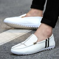 Wholesale Patent Car - 3 Colors New Summer Top Genuine Leather Mens Casual Shoes Zipper Driving Car Lofers White Leather Shoes EX23