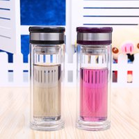 ECO Friendly blue decks - Thickening Double Deck Tea Cup Portable Sport Travel Water Bottle Mug With Filter Strainer Glass Bottles Portable Cups J R