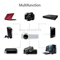 Wholesale Mini Hdmi Projector Free Shipping - Free Shipping GP9 Mini Projector Full HD 1080P Portable Multimedia Projector Home Cinema Theater LED 4-inch LCD screen Manual Focus EU US UK