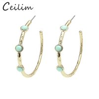Wholesale Turquoise Hoop Earring Wholesale - 5.0CM Big Circle Classic Turquoise Stone Hoop Earrings Gold Color Stone For Women Party Gift fashion jewelry free shipping