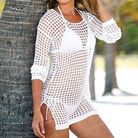 Wholesale robes plage - Beach Cover Up Women Sexy Shirt Long Sleeve Bikini Hollow Cover Up Robe De Plage Beach Cardigan Bathing Suit