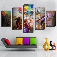 Wholesale Interior Wall Paintings Pictures - hot sale products cost price 5pcs set Unframed painting Wall Art Abstract picture Spray painting interior decor