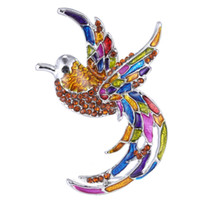Wholesale Crystal big colorful bird silver plated brooch pins Animal brooch pins fashion vintage jewelry trendy gift
