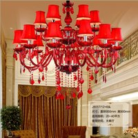 Wholesale Glass Crystal Chandelier Shades - Fashion lustres de cristal luminaria villa stair living room bedroom luxury chandelier red Crystal Chandeliers lamp shades interior lighting