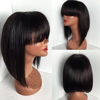 Wholesale African American Baby Hairstyles - New bob cut wigs short lace front wigs with bangs glueless lace front wig human hair bob wig with baby hair for african american black women