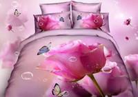 reina rosa rosa juegos de cama florales al por mayor-100 Algodón 3D flor rosa Floral Rose juegos de cama de aceite de impresión funda nórdica de girasol hoja plana fundas de almohada / doble completo reina King Size