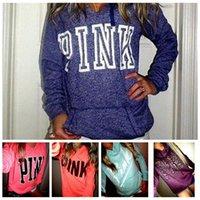 Wholesale Pink Long Sleeve Girls - VS Pink Tops Women Pink Letter Sweatshirts VS Pink Pullover Letter Print Hoodie Fashion Shirt Coat Long Sleeve Hoodies Sweater OOA2781