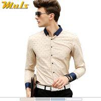 Wholesale Uomo Shirt Xl - Wholesale- 5xl plus size men polka dot shirts floral pattern long sleeve camicie uomo slim Iron camisa masculina camisa men Shirt fall 1562
