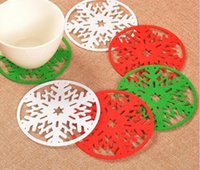 Wholesale dinner cups - Merry Christmas Snowflakes Cup Mat Christmas Decorations Dinner Party Dish Tray Pad for Home Decor