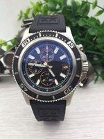 Wholesale Luxury Watches Superocean - Luxury Brand Mens Watch Superocean II Heritage 46 Men Watches Black Dial Quartz Movement Chronograph Rubber Strap