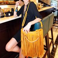 Wholesale Red Fringe Purse - Wholesale-Hot Sale Woman Punk Tassel Fringe Handbag Purse Hobo Tote Shoulder Bag Ladies Handbags