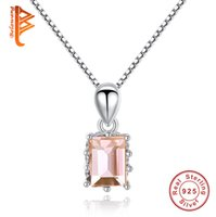Wholesale Brilliant Love - BELAWANG New 925 Sterling Silver Square Cut Brilliant Champagne Gold&Pink Crystal Necklaces For Women Cubic Zircon Necklace Elegant Jewelry