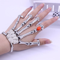Wholesale Talon Hand Bracelet - Punk Goth Gem Silver Skeleton Slave Bones Talon Hand Skull Bracelet Stretch Bangle Party Weapon Jewelry