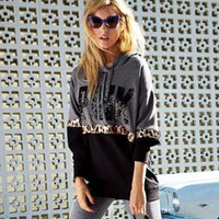 Wholesale Cotton Hoodies Leopard Sweatshirt Top - PINK Letters Coat Sequins PINK Jackets VS Hoodies Love Pink Sweatshirt Fashion Printed Pullover Loose Sweatshirts Pullover Tops Leopard