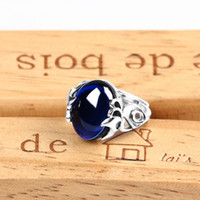 Wholesale Blue Sapphire Ring 925 Silver - Ring Women's Ring 925 Sterling Silver Ring Thai Silver Synthetic Sapphire Blue Style Weight 3.87G Gemstone Size 13X10mm