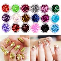 Wholesale Sparkly Nail Tips - Wholesale- 18 Color Hexagon Glitter Dust Sequin Set French Acrylic UV Gel Polish Tips Powder Sparkly Shiny 3D Nail Art Design DIY Decor Kit