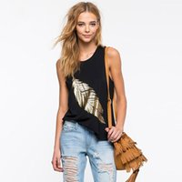 2017 Nuove donne d'avanguardia donne nere Punk Golden Leaf Print Tops T-shirt casual cotone O-collo senza maniche Lose Fit Tops