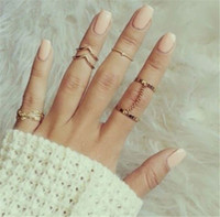 Wholesale Gold Plated Knuckle Rings - 2016 new 6pcs  lot Shiny Punk style Gold plated Stacking midi Finger Knuckle rings Charm Leaf Ring Set for women Jewelry