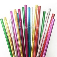 Wholesale silver paper straws - Wholesale- 25pcs Foil Solid Green Pink Red Gold Silver Paper Straws for Baby Shower Wedding Party Kids Birthday Party Decoration Supplies