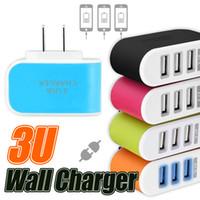adaptateur de voyage chargeur mural usb achat en gros de-3 ports USB chargeur de voyage chargeur mural chargeur 5V 3.1A chargeur à la maison avec la lumière LED adaptateur secteur pour iPhone Samsung iPad Huawei