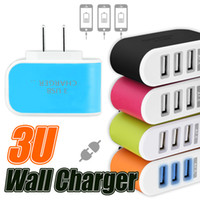 Wholesale Plug Adapter Home - Wall charger Travel Adapter For Iphone 7 Colorful Home Plug LED USB Charger For Samsung S6 3 Ports USB Charger