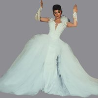 Wholesale Silk Organza Sweetheart Neck Wedding - 2017 Modest Lace Wedding Dresses with Detachable Skirt Puffy Skirt Long Sleeve Sweetheart Arabic Dubai Plus Size Beach Floral Wedding Gowns