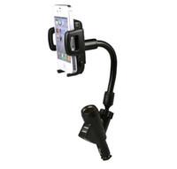 ingrosso usb di fissaggio dell'automobile di iphone-Supporti per telefono cellulare Dual USB 2A con supporti per caricabatterie per accendisigari per auto ruotabili di 360 gradi per iPhone 7 Samsung Galaxy con scatola al dettaglio
